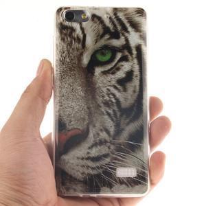 Gélový obal pre mobil Honor 4C - biely tiger - 4