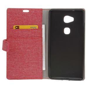 Textilné/koženkové puzdro pre Honor 5X - červené - 4