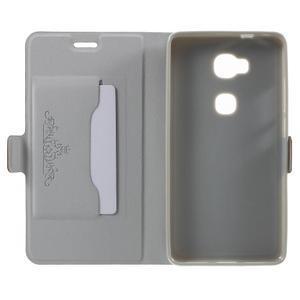 Peňaženkové PU kožené puzdro pre mobil Honor 5X - hnedé - 4