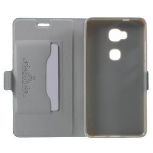 Peňaženkové PU kožené puzdro pre mobil Honor 5X - modré - 4