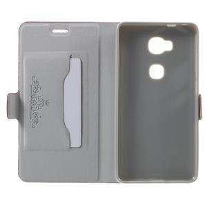 Peňaženkové PU kožené puzdro pre mobil Honor 5X - červené - 4