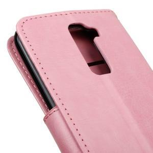 Horse PU kožené puzdro pre LG K10 - ružové - 4