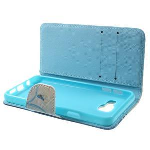 Peňaženkové puzdro na mobil Samsung Galaxy A3 (2016) - modrý motýl - 4