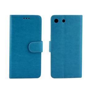 Horse PU kožené pouzdro na Sony Xperia M5 - modré - 4