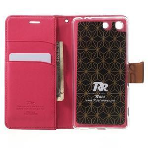Wall PU kožené puzdro pre mobil Sony Xperia M5 - rose - 4