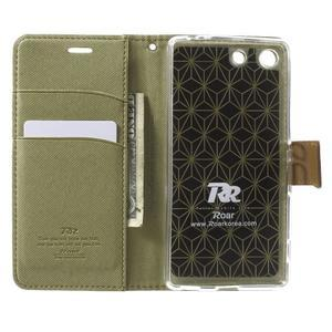 Wall PU kožené puzdro pre mobil Sony Xperia M5 - khaki - 4