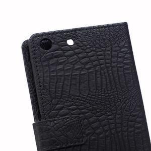 Peňaženkové puzdro s textúrou krokodílej kože na Sony Xperia M5 - čierne - 4