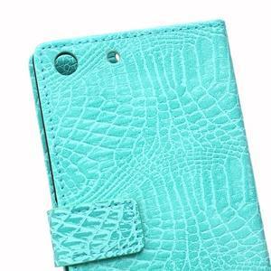 Peněženkové pouzdro s texturou krokodýlí kůže na Sony Xperia M5 - cyan - 4