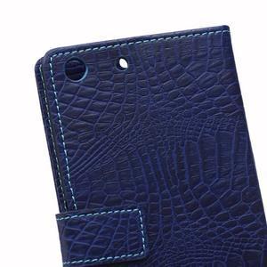 Peňaženkové puzdro s textúrou krokodílej kože na Sony Xperia M5 - tmavomodré - 4