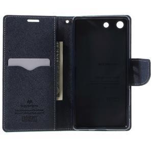 Goos PU kožené peňaženkové puzdro pre Sony Xperia M5 - cyan - 4