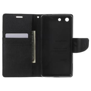 Canvas PU kožené / textilné puzdro pre Sony Xperia M5 - čierne - 4