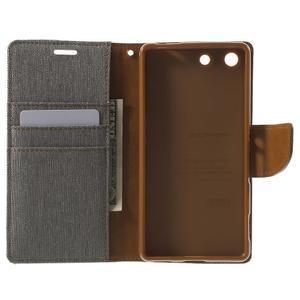 Canvas PU kožené / textilní pouzdro na Sony Xperia M5 - šedé - 4