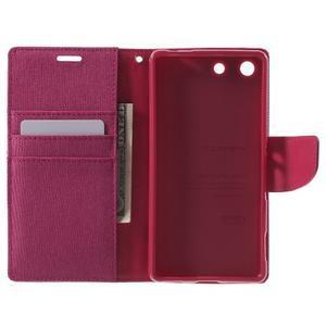 Canvas PU kožené / textilní pouzdro na Sony Xperia M5 - rose - 4