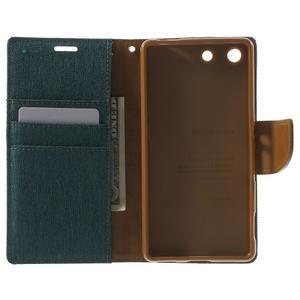 Canvas PU kožené / textilní pouzdro na Sony Xperia M5 - zelenomodré - 4