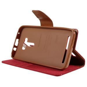 Canvas PU kožené/textilné puzdro pre Asus Zenfone Selfie ZD551KL - červené - 4