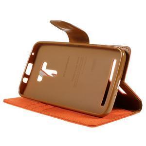 Canvas PU kožené/textilní puzdro na Asus Zenfone Selfie ZD551KL - oranžové - 4