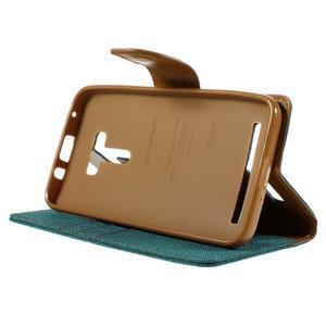 Canvas PU kožené/textilní puzdro na Asus Zenfone Selfie ZD551KL - zelenomodré - 4