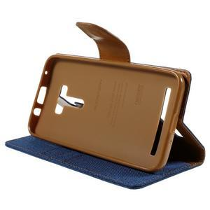 Canvas PU kožené/textilné puzdro pre Asus Zenfone Selfie ZD551KL - modré - 4