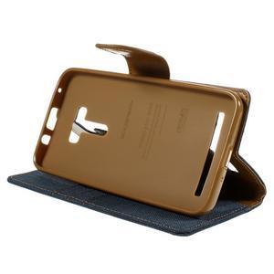 Canvas PU kožené/textilné puzdro pre Asus Zenfone Selfie ZD551KL - tmavo modré - 4