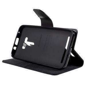 Canvas PU kožené/textilní puzdro na Asus Zenfone Selfie ZD551KL - čierné - 4