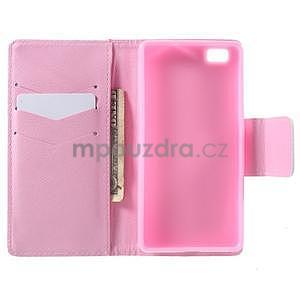 Peňaženkové PU kožené puzdro na Huawei Ascend P8 Lite - kvitnúca vetvička - 4