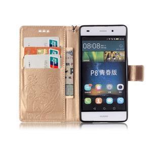 Magicfly PU kožené puzdro na Huawei P8 Lite - zlaté - 4
