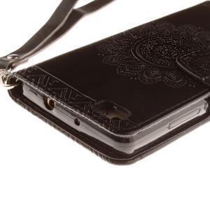 Mandala PU kožené puzdro na mobil Huawei P8 Lite - čierne - 4