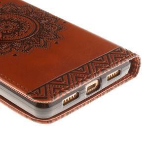 Mandala PU kožené pouzdro na mobil Huawei P8 Lite - hnědé - 4