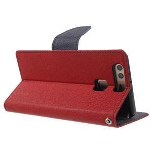 Diary PU kožené pouzdro na mobil Huawei P9 - červené - 4