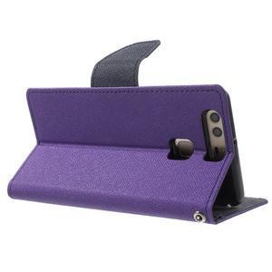 Diary PU kožené pouzdro na mobil Huawei P9 - fialové - 4
