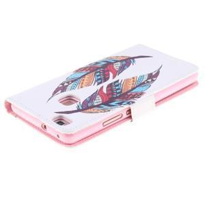 Knižkové PU kožené puzdro na Huawei P9 Lite - farebné pierka - 4