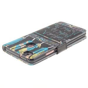 Knížkové PU kožené pouzdro na Huawei P9 Lite - peříčka - 4