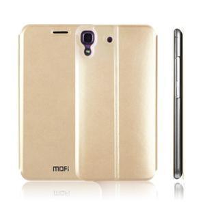 Vintage PU kožené pouzdro na mobil Huawei Y6 - zlaté - 4