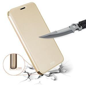Vintage PU kožené pouzdro na mobil Huawei Y6 Pro - zlaté - 4