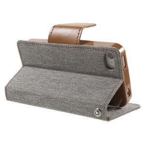 Canvas PU kožené/textilní pouzdro na iPhone 4 - šedé - 4