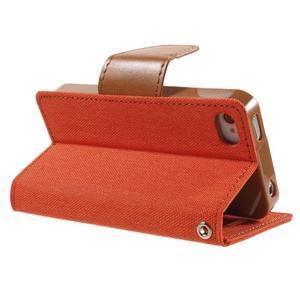 Canvas PU kožené/textilné puzdro pre iPhone 4 - oranžové - 4