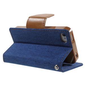 Canvas PU kožené/textilné puzdro pre iPhone 4 - modré - 4