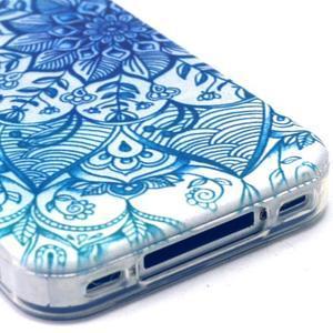 Emotive gélový obal pre mobil iPhone 4 - modrá mandala - 4
