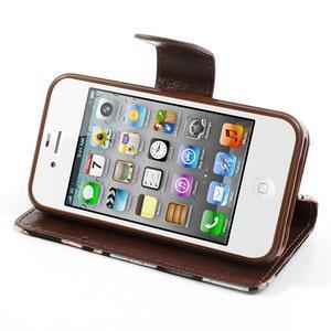 Elegantní PU kožené pouzdro na iPhone 4 - černé pozadí - 4