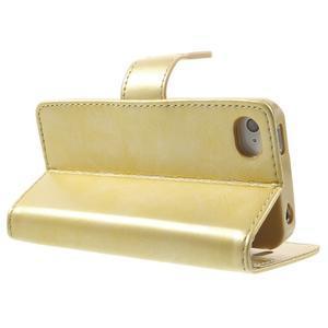 Moon PU kožené puzdro pre mobil iPhone 4 - zlaté - 4