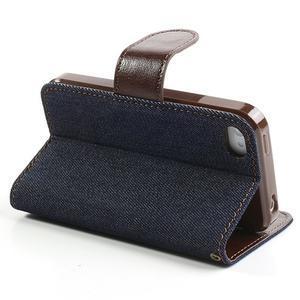 Jeans peňaženkové puzdro pre iPhone 4 - čiernomodré - 4