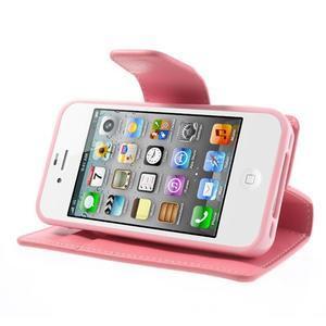 Diary PU kožené knížkové puzdro pre iPhone 4 - ružové - 4