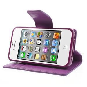 Diary PU kožené knížkové puzdro pre iPhone 4 - fialové - 4