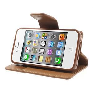 Diary PU kožené knížkové puzdro pre iPhone 4 - hnedé - 4
