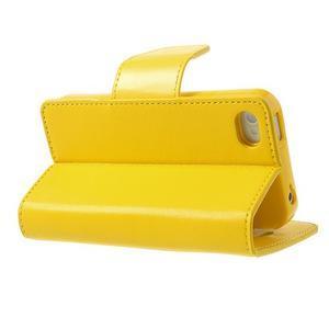 Diary PU kožené knížkové puzdro pre iPhone 4 - žlté - 4
