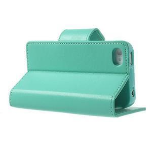 Diary PU kožené knížkové puzdro pre iPhone 4 - azurové - 4