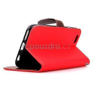 PU kožené peňaženkové puzdro pre iPhone 6s a 6 - červené - 4