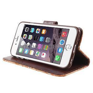 Elegantné kvetinové peňaženkové puzdro na iPhone 6 a 6s - oranžové - 4