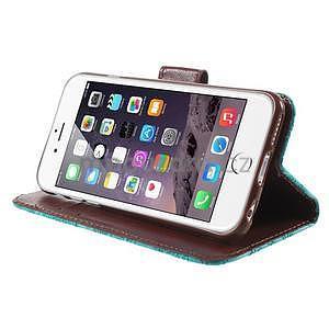 Elegantné kvetinové peňaženkové puzdro pre iPhone 6 a 6s - tyrkysové - 4