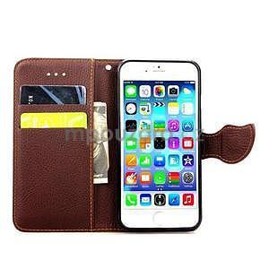 PU kožené peňaženkové puzdro pre iPhone 6s a 6 - zelene - 4